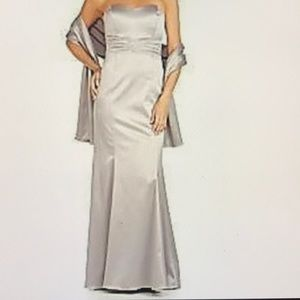 Strapless Embellished Satin Gown With Wrap